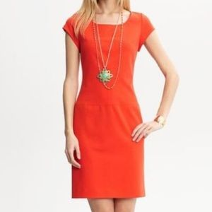 Banana republic pointe knit dress lava coral